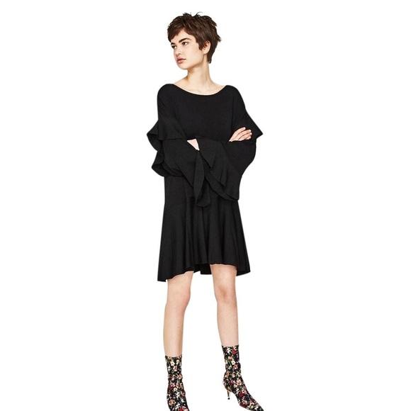 ed3e5254 Zara Knit Frilly Black Ruffle Dress size Medium. M_5cb74f2008d2c23d84060207